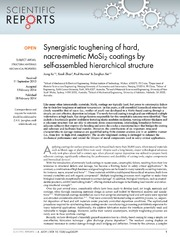 Vol 4: Synergistic toughening of hard, nacre-mimetic MoSi2 coatings by self-assembled hierarchical structure.