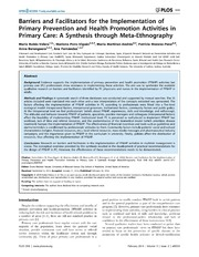Vol 9: Barriers and Facilitators for the Implementation of Primary Prevention and Health Promotion Activities in Primary Care: A Synthesis through Meta-Ethnography.