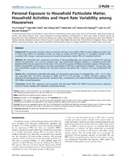 Vol 9: Personal Exposure to Household Particulate Matter, Household Activities and Heart Rate Variability among Housewives.