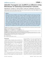 Vol 9: Zebrafish Transgenic Line huORFZ Is an Effective Living Bioindicator for Detecting Environmental Toxicants.