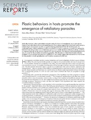 Vol 4: Plastic behaviors in hosts promote the emergence of retaliatory parasites.