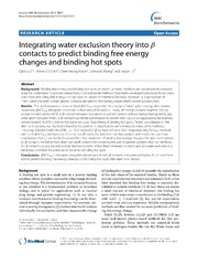 Vol 15: Integrating water exclusion theory into βcontacts to predict binding free energy changes and binding hot spots.