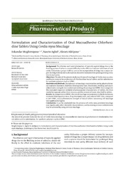 Vol 7: Formulation and Characterization of Oral Mucoadhesive Chlorhexidine Tablets Using Cordia myxa Mucilage.