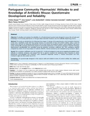 Vol 9: Portuguese Community Pharmacists Attitudes to and Knowledge of Antibiotic Misuse: Questionnaire Development and Reliability.