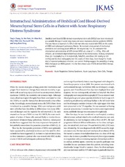 Vol 29: Intratracheal Administration of Umbilical Cord Blood-Derived Mesenchymal Stem Cells in a Patient with Acute Respiratory Distress Syndrome.