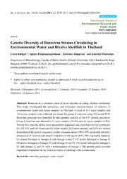 Vol 11: Genetic Diversity of Rotavirus Strains Circulating in Environmental Water and Bivalve Shellfish in Thailand.
