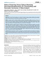 Vol 9: Pylorus-Preserving Versus Pylorus-Resecting Pancreaticoduodenectomy for Periampullary and Pancreatic Carcinoma: A Meta-Analysis.