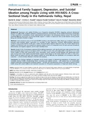 Vol 9: Perceived Family Support, Depression, and Suicidal Ideation among People Living with HIV-AIDS: A Cross-Sectional Study in the Kathmandu Valley, Nepal.
