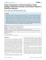 Vol 9: Proper Interpretation of Dissolved Nitrous Oxide Isotopes, Production Pathways, and Emissions Requires a Modelling Approach.