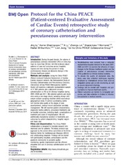 Vol 4: Protocol for the China PEACE Patient-centered Evaluative Assessment of Cardiac Events retrospective study of coronary catheterisation and percutaneous coronary intervention.