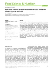 Vol 2: Hydration kinetics of direct expanded tef flour breakfast cereals in water and milk.