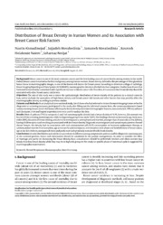 Vol 15: Distribution of Breast Density in Iranian Women and its Association with Breast Cancer Risk Factors.