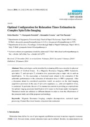 Vol 14: Optimal Configuration for Relaxation Times Estimation in Complex Spin Echo Imaging.