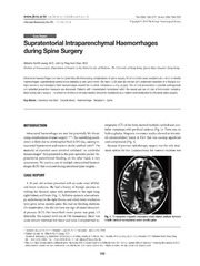 Vol 55: Supratentorial Intraparenchymal Haemorrhages during Spine Surgery.