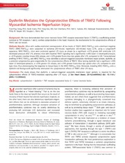 Vol 3: Dysferlin Mediates the Cytoprotective Effects of TRAF2 Following Myocardial Ischemia Reperfusion Injury.