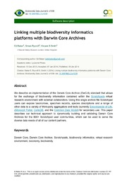 Linking multiple biodiversity informatics platforms with Darwin Core Archives.