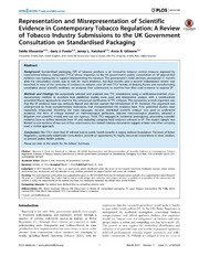 Vol 11: Representation and Misrepresentation of Scientific Evidence in Contemporary Tobacco Regulation: A Review of Tobacco Industry Submissions to the UK Government Consultation on Standardised Packaging.