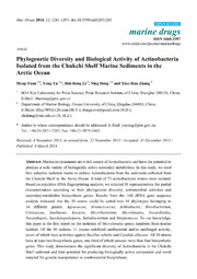 Vol 12: Phylogenetic Diversity and Biological Activity of Actinobacteria Isolated from the Chukchi Shelf Marine Sediments in the Arctic Ocean.