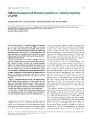 Vol 85: Retrieval analysis of alumina ceramic-on-ceramic bearing couples.