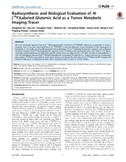 Vol 9: Radiosynthesis and Biological Evaluation of N-18FLabeled Glutamic Acid as a Tumor Metabolic Imaging Tracer.
