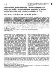 Vol 5: Helicobacter pylori sensitizes TNF-related apoptosis-inducing ligand (TRAIL)-mediated apoptosis in human gastric epithelial cells through regulation of FLIP.