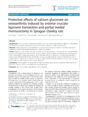 Vol 9: Protective effects of calcium gluconate on osteoarthritis induced by anterior cruciate ligament transection and partial medial meniscectomy in Sprague-Dawley rats.