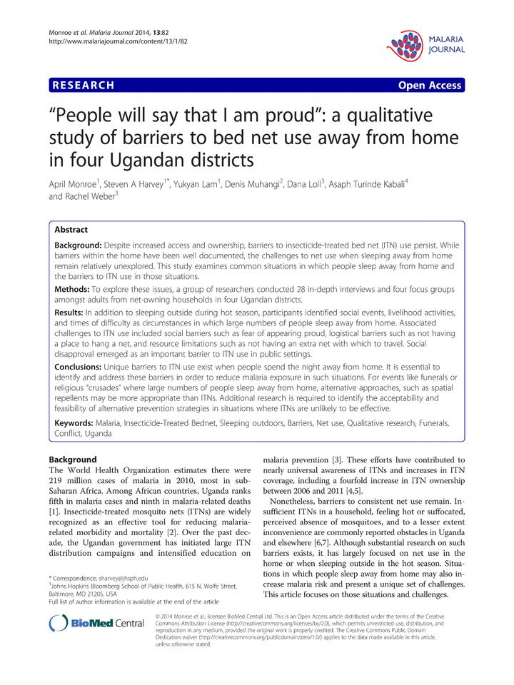 Vol 13: People will say that I am proud: a qualitative study of barriers to bed net use away from home in four Ugandan districts.