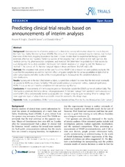 Vol 15: Predicting clinical trial results based on announcements of interim analyses.