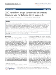 Vol 9: ZnO nanosheet arrays constructed on weaved titanium wire for CdS-sensitized solar cells.