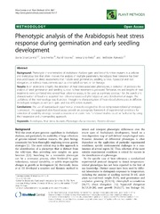 Vol 10: Phenotypic analysis of the Arabidopsis heat stress response during germination and early seedling development.