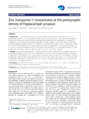 Vol 7: Zinc transporter-1 concentrates at the postsynaptic density of hippocampal synapses.