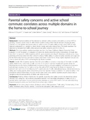 Vol 11: Parental safety concerns and active school commute: correlates across multiple domains in the home-to-school journey.