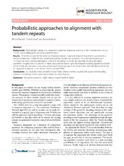 Vol 9: Probabilistic approaches to alignment with tandem repeats.