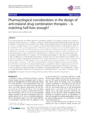Vol 13: Pharmacological considerations in the design of anti-malarial drug combination therapies - is matching half-lives enough