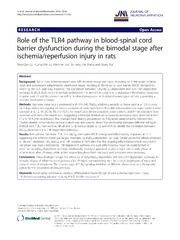 Vol 11: Role of the TLR4 pathway in blood-spinal cord barrier dysfunction during the bimodal stage after ischemia-reperfusion injury in rats.
