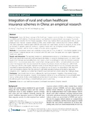 Vol 14: Integration of rural and urban healthcare insurance schemes in China: an empirical research.