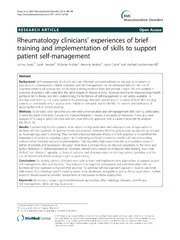 Vol 15: Rheumatology clinicians experiences of brief training and implementation of skills to support patient self-management.