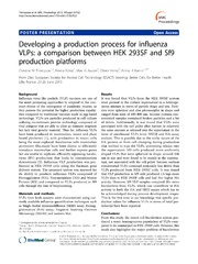 Vol 7: Developing a production process for influenza VLPs: a comparison between HEK 293SF and Sf9 production platforms.
