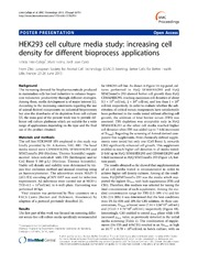Vol 7: HEK293 cell culture media study: increasing cell density for different bioprocess applications.