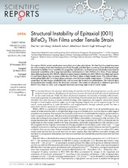 Vol 4: Structural Instability of Epitaxial 001 BiFeO3 Thin Films under Tensile Strain.