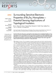 Vol 4: Surrounding Sensitive Electronic Properties of Bi2Te3 Nanoplates-Potential Sensing Applications of Topological Insulators.
