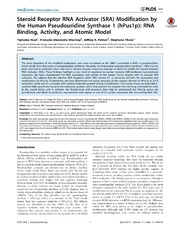 Vol 9: Steroid Receptor RNA Activator SRA Modification by the Human Pseudouridine Synthase 1 hPus1p: RNA Binding, Activity, and Atomic Model.