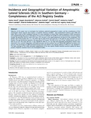 Vol 9: Incidence and Geographical Variation of Amyotrophic Lateral Sclerosis ALS in Southern Germany - Completeness of the ALS Registry Swabia.