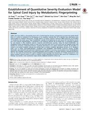 Vol 9: Establishment of Quantitative Severity Evaluation Model for Spinal Cord Injury by Metabolomic Fingerprinting.