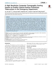 Vol 9: A High Resolution Computer Tomography Scoring System to Predict Culture-Positive Pulmonary Tuberculosis in the Emergency Department.