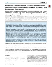 Vol 9: Association between Serum Tissue Inhibitor of Matrix Metalloproteinase-1 Levels and Mortality in Patients with Severe Brain Trauma Injury.