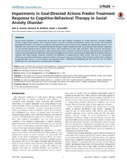 Vol 9: Impairments in Goal-Directed Actions Predict Treatment Response to Cognitive-Behavioral Therapy in Social Anxiety Disorder.