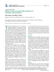 Vol 73: Safety of early air travel after treatment of traumatic pneumothorax.