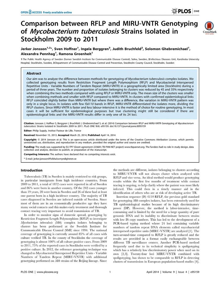 Vol 9: Comparison between RFLP and MIRU-VNTR Genotyping of Mycobacterium tuberculosis Strains Isolated in Stockholm 2009 to 2011.