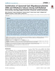 Vol 9: Combination of Liposomal CpG Oligodeoxynucleotide 2006 and Miltefosine Induces Strong Cell-Mediated Immunity during Experimental Visceral Leishmaniasis.